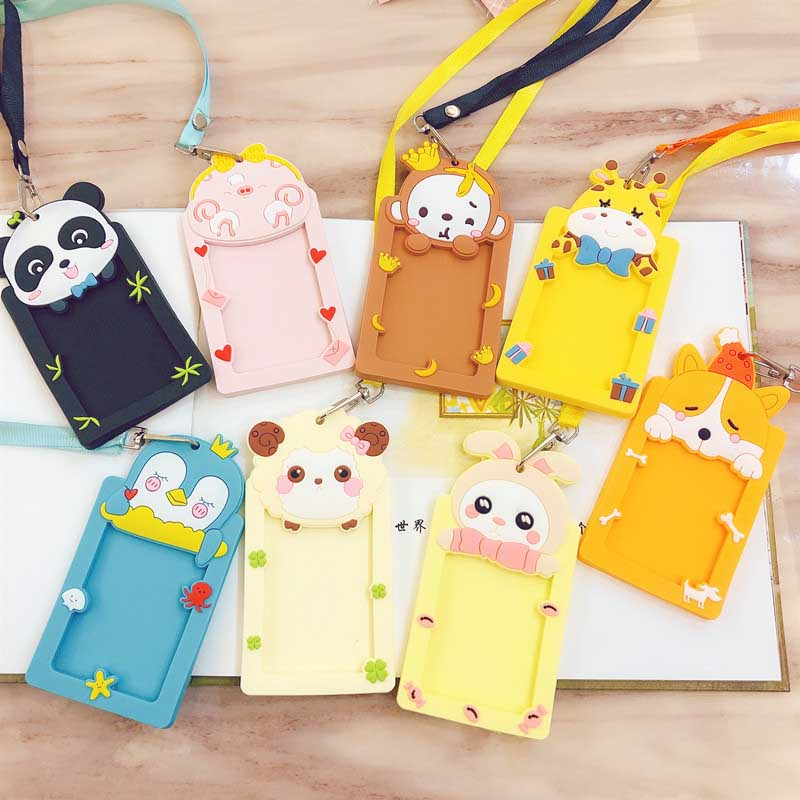 Cute Panda Monkey Animals Bank Credit Card Holders Unisex Silicone Neck Strap Card Bus ID Holders Identity Badge Lanyard