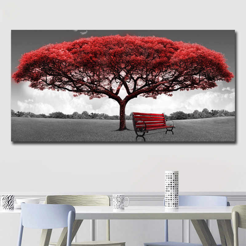 Moderne Rouge Argent Arbre Toile Peinture Mur Art Toile Affiches Imprime Photos Murales Pour Bureau Salon Décor à La Maison œuvre D Art