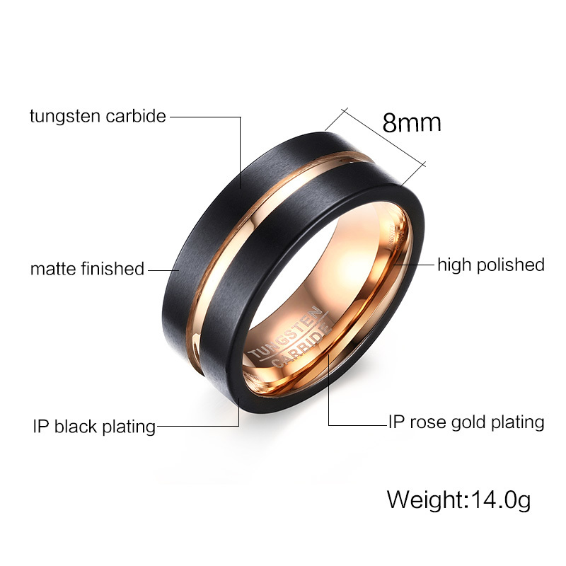 Fashion Mens Rings 8mm Black Brushed Tungsten Carbide Ring Rose Gold Inlay Groove Flat Cut Edge Men Wedding Band Jewelry anel masculino 15