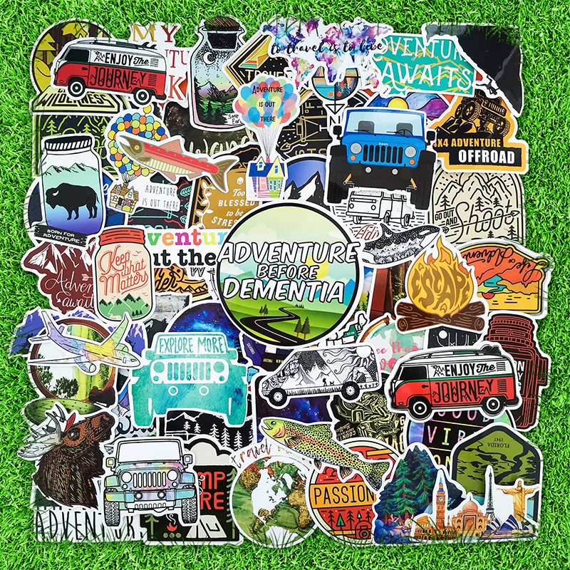 66PCS Camping Stickers Travel Wilderness Adventure Outdoor Landscape Waterproof Decal Sticker to DIY Suitcase Laptop Motor Car
