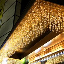 LED Ice strip waterfall curtain Light String Christmas Garland Fairy Outdoor For Romantic Wedding Party Bar Decoration