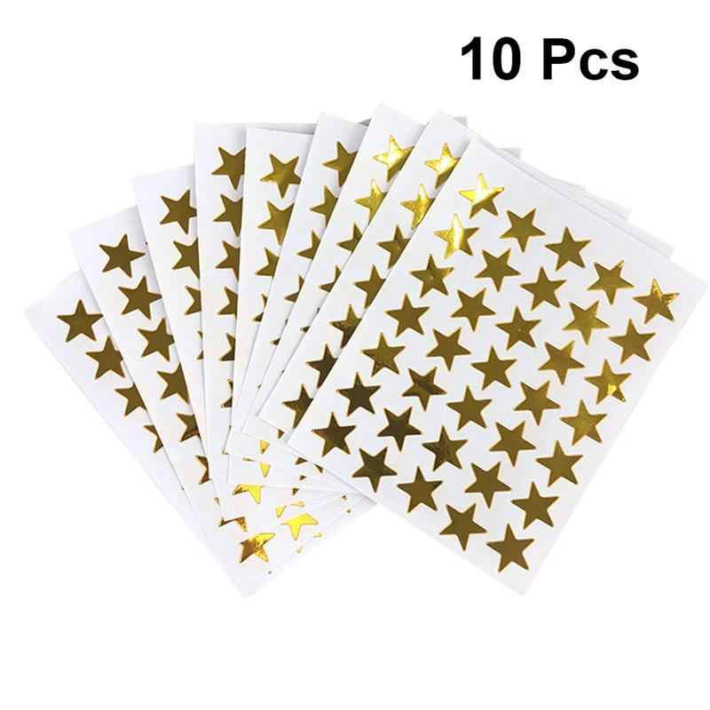 10pcs PVC Stickers Golden Star Sparkle Self Adhesive Removable Rewards PVC Stickers Encourage Gift For Kids Children