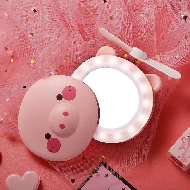 Piggy Beauty Makeup Mirror Fan Usb Rechargeable Mini Cute Led Light Portable Mini Fan