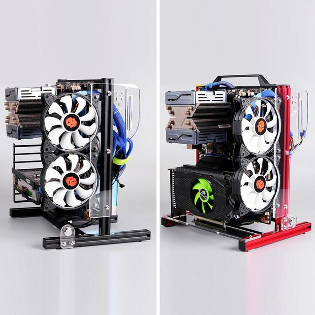 DIY Open PC Case for ATX/M-ATX/ ITX Chassis Vertical Overclocking Open Aluminum Frame Chassis Rack DIY Computer Accessories Kit 3