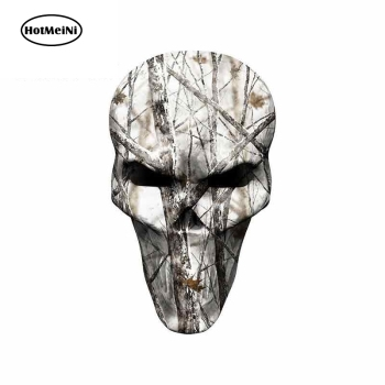 HotMeiNi 13cm x 7.7cm For Winter Camo Hunting Skull Car Bumper Window Stickers Vinyl Wrap Graffiti Sticker Motorcycle Stickers image