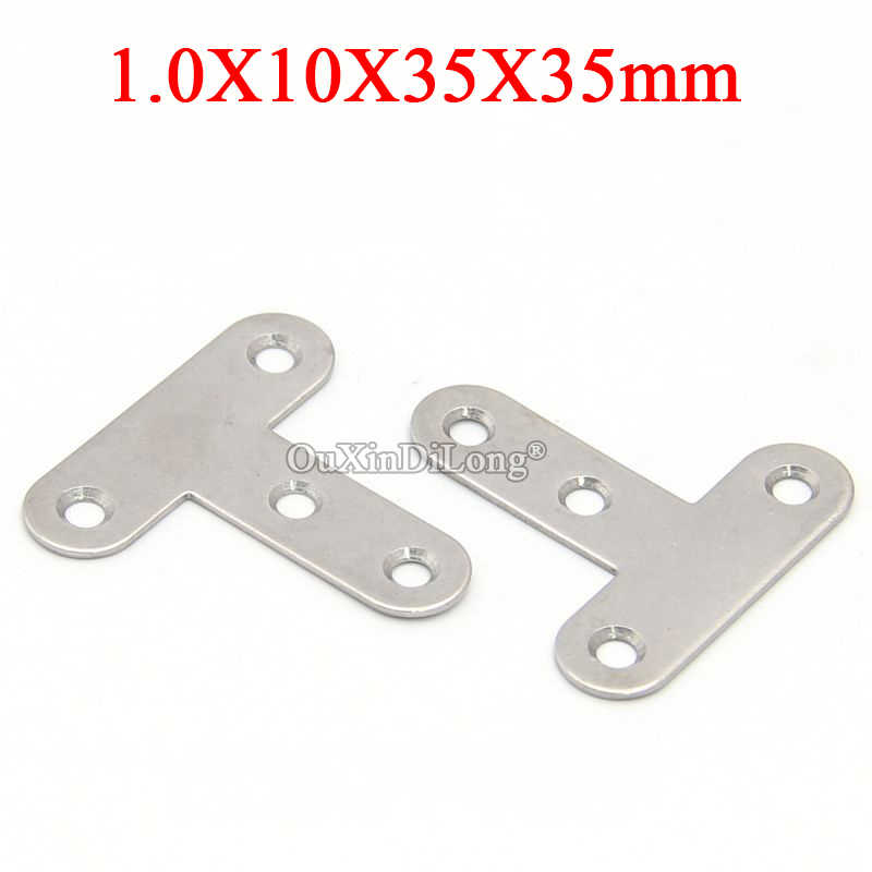 200PCS Stainless Steel Right Angle Corner Braces T Shape Furniture Connecting Fittings Frame Board Support Brackets 10X35X35mm
