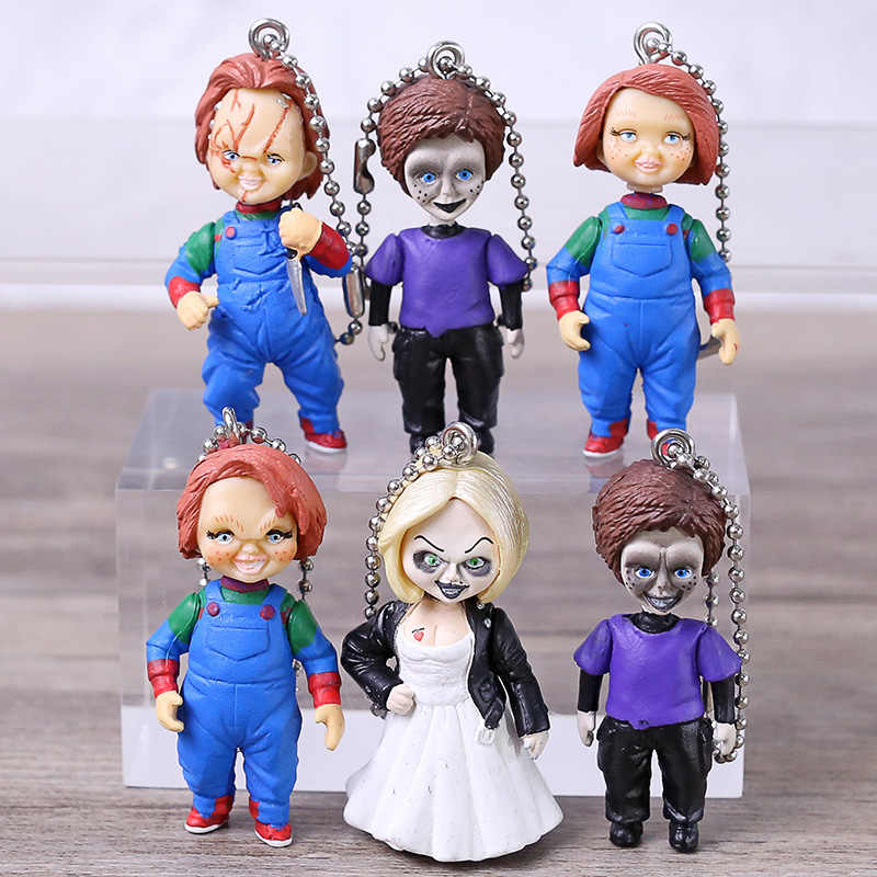 6 stks/set 6cm anime Kinderspel Chucky Bruid Zoon Pop Sleutelhanger Action Figure sleutelhanger Collectible Model Toy geschenken