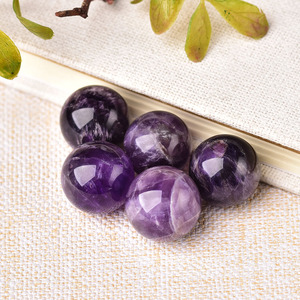 1PC Natural Amethyst crystal ball 20mm Reiki Quartz Energy Healing Stone Ore Mineral For Home Decoration Collection DIY gift(China)