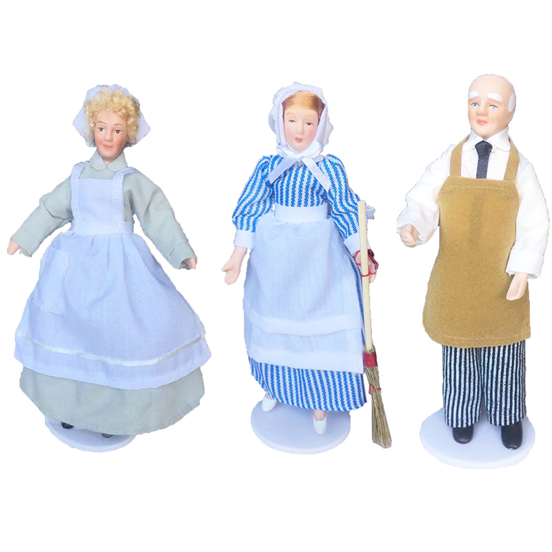 New 1:12 Dollhouse Miniature Porcelain Doll Model Housemaid Chef Old Man Servant