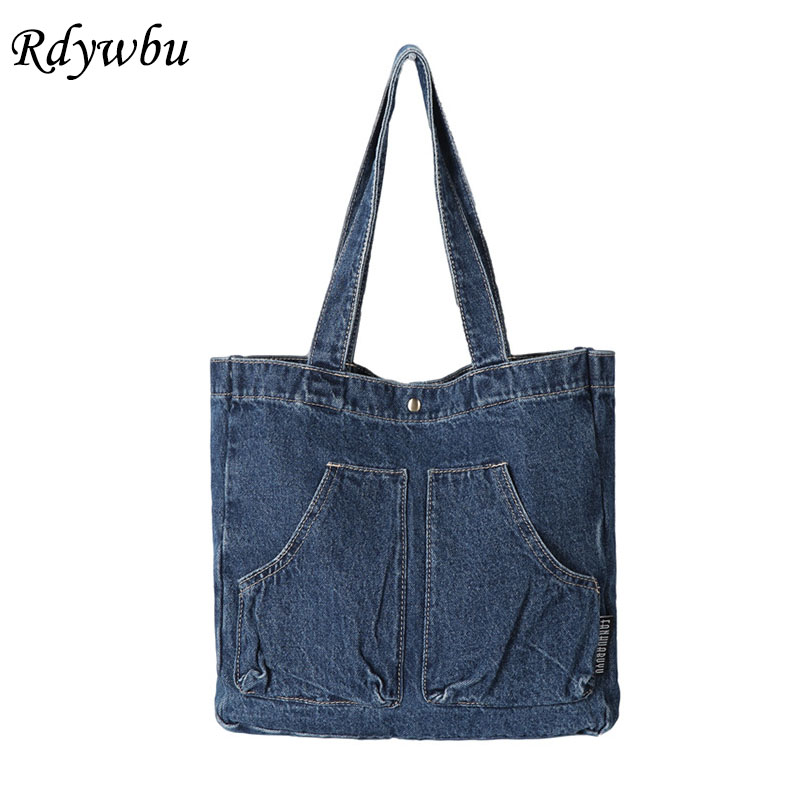 Casual Designed Denim Jean Tote Shoulder Bag Vintage Canvas Blue 2 Pockets Top-Handle Handbag Weekend Travel Bolso Mujer B813