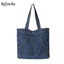 Casual Designed Denim Jean Tote Shoulder Bag Vintage Canvas Blue 2 Pockets Top-Handle Handbag Weekend Travel Bolso Mujer B813