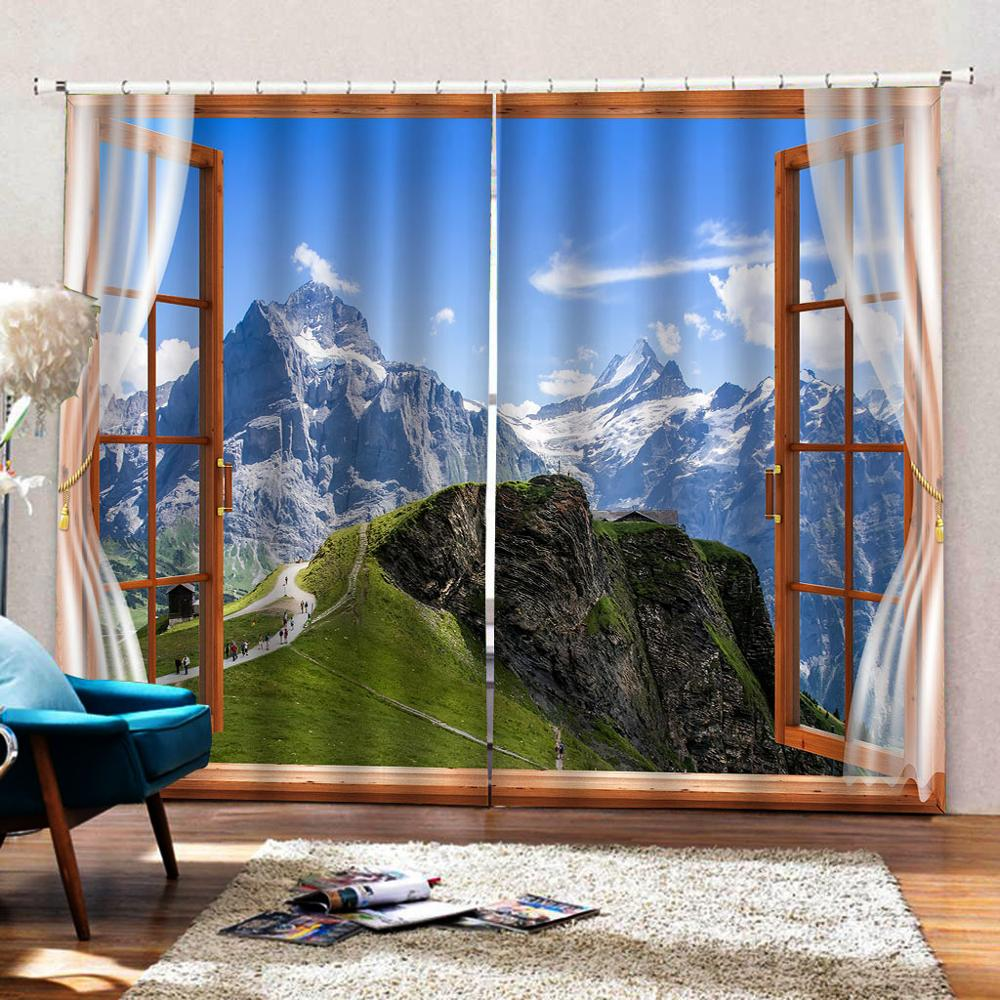 3D занавески фото размер под заказ Лес Снег пейзаж занавески Спальня Гостиная Офис Cortinas пробой Ванная комната Душ - 3