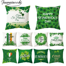 Fuwatacchi Letter Pattern Pillow Cover Happy St.patrick's Day Cushion Cover Printed Throw Pillowcase for Home Sofa Decorative fuwatacchi ocean mermaid starfish pattern cushion cover cartoon throw pillowcase for home sofa decorative pillows covers 30 50cm