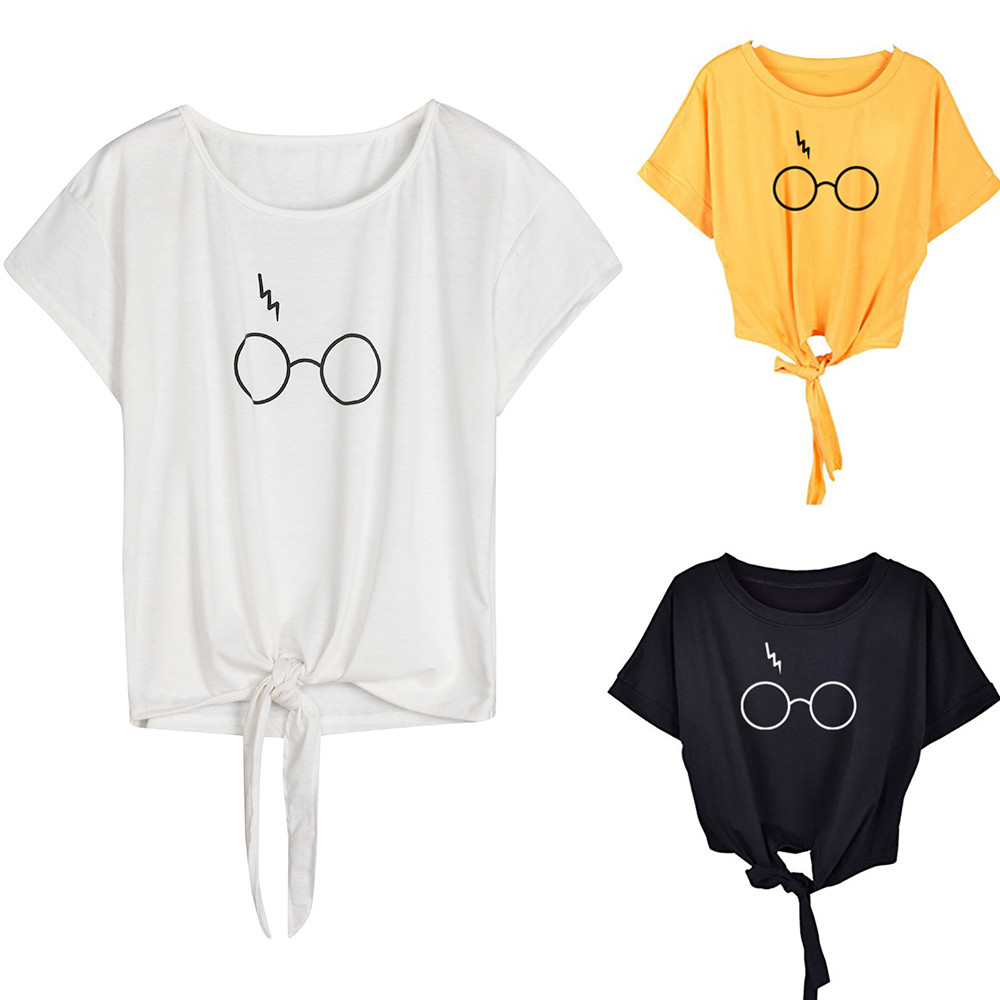 Women glasses printed t-shirt tie a knot solid Short Sleeve Glasses Print O Neck Tops cotton elastic T Shirt ropa mujer 2020