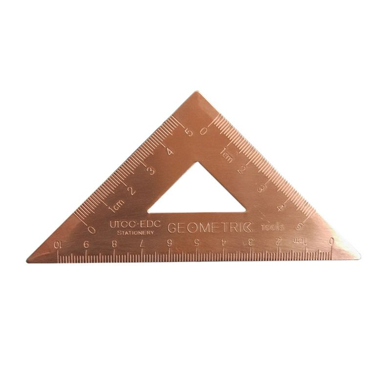 OOTDTY Retro Copper Lsosceles Triangle Ruler Drawing Painting Measuring Tool Cartograph