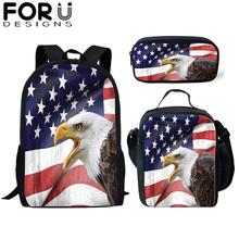 FORUDESIGNS 3Pcs School Bag Set for Kids Girls American Flag Eagle Backpack Boy Bagpack Children Bookbag Satchel Daypack