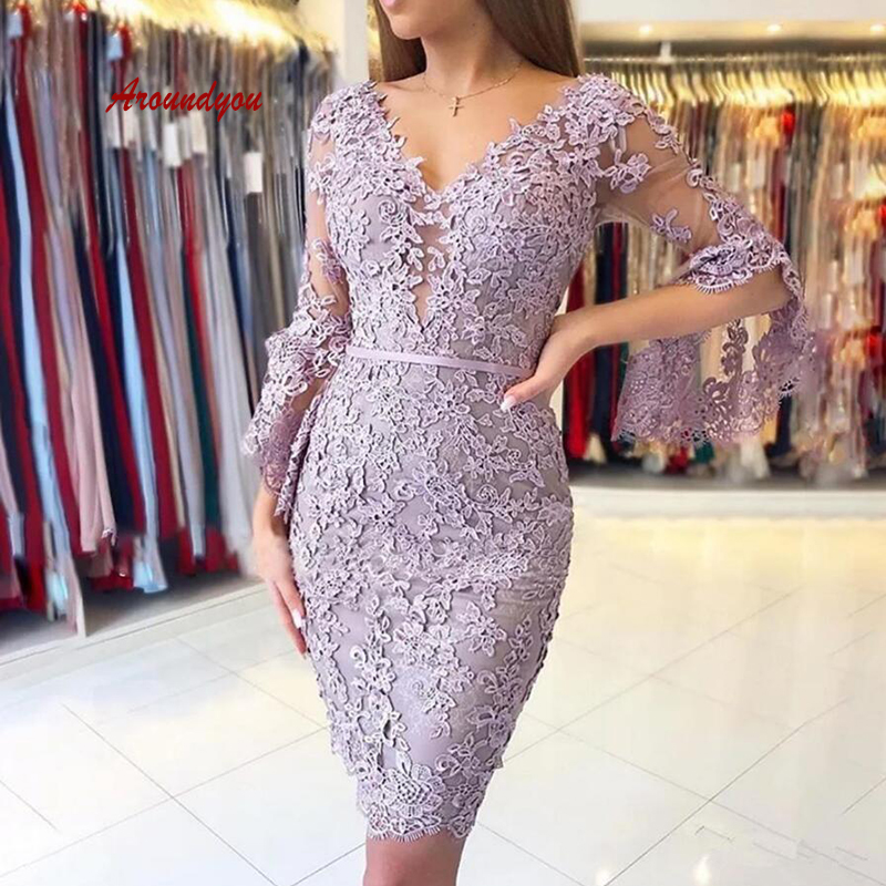 Sexy Long Sleeve Lace Short Cocktail Dresses Party Plus Size Ladies Women Formal Beaded Graduation Prom Homecoming Dresses