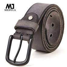 Medyla 100% couro original masculino cinto de metal fosco fivela de pino macio resistente cinto de couro para homem sem interlayer cinto masculino