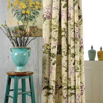 Modern American style Curtains for Living Room Bedroom Country Hydrangea Fresh Cotton and Linen Balcony Study Curtain modern simple cotton linen stereo embroidery curtain dolly curtain screen american country curtains for living room and bedroom