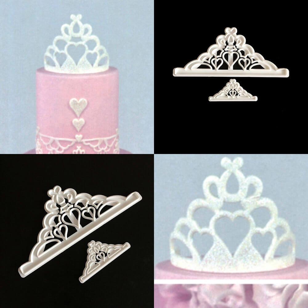 2pcs Crown Plastic Fondant Cutter Cake Mold Fondant Cupcake Decorating Tools SET decorating tools chocolate gumpaste mold