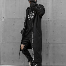 Personality Thin Windbreaker Male Trend In The Tide Street Cool Dark System Shawl Loose Coat Stage Long Trench Coat Men(China)