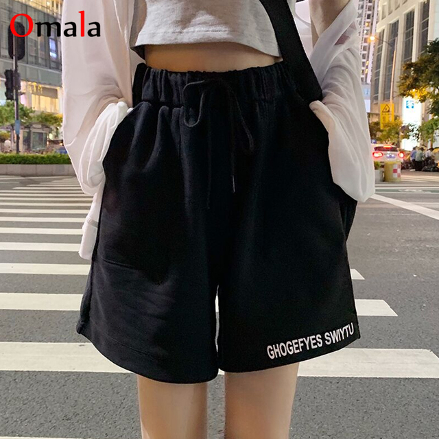 fashion 100% cotton Shorts Women Loose All-match Korean gray black Leisure Female Simple letter embroidery elastic jogger shorts 2