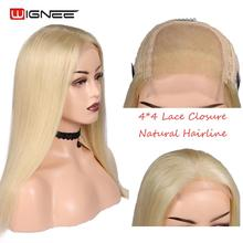 Wignee 4*4 Lace Closure 613# Blonde Human Hair Wigs For Women High Density Blond Hair Glueless Lace Part Straight Hair Human Wig цена
