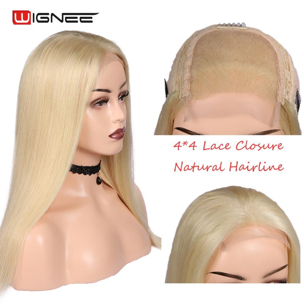 Wignee 4*4 dentelle fermeture 613 # cheveux humains blonds perruques pour femmes haute densité cheveux blonds sans colle dentelle partie cheveux raides perruque humaine