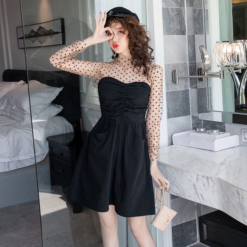 BacklakeGirls Sexy Illusion High Neck See Through Long Sleeve Wave Point Patter Printing Cocktail Dress With Pocktes Vestidos