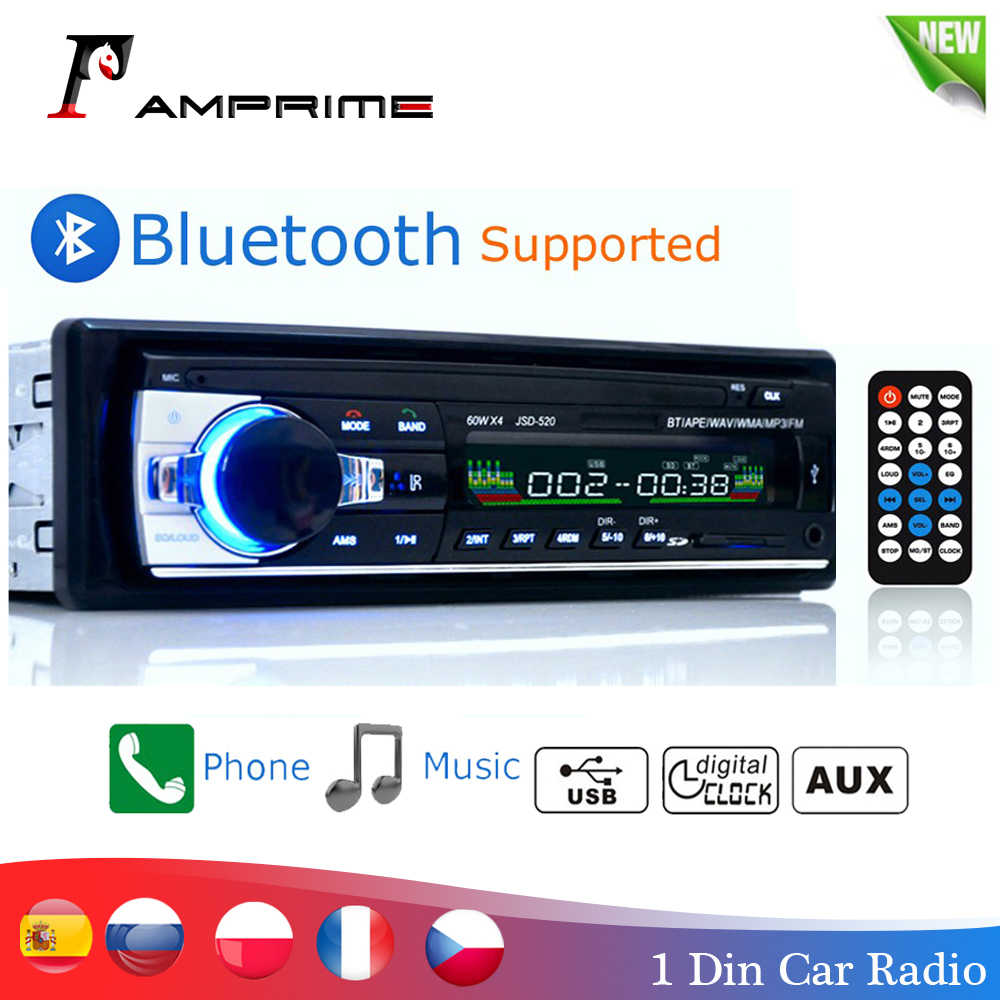Amprime Bluetooth Autoradio Mobil Stereo Radio FM AUX Input Receiver SD USB JSD-520 12V Di-dash 1 Din mobil MP3 Multimedia Player