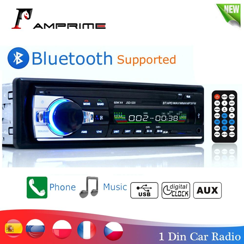 Amprime bluetooth autoradio carro estéreo rádio fm aux entrada receptor sd usb JSD-520 12 v in-dash 1 din carro mp3 multimídia player