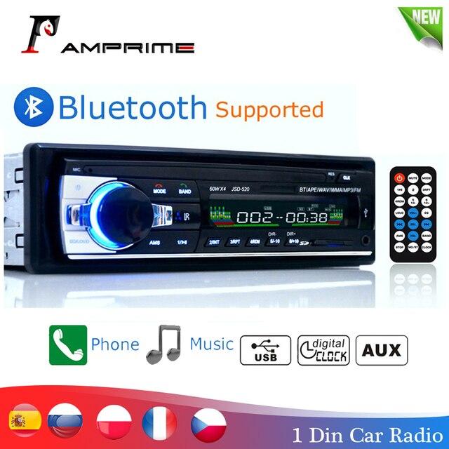Amprime bluetooth autoradioカーステレオラジオfm aux入力レシーバsd usb JSD 520 12 12vダッシュ1 din車MP3マルチメディアプレーヤー