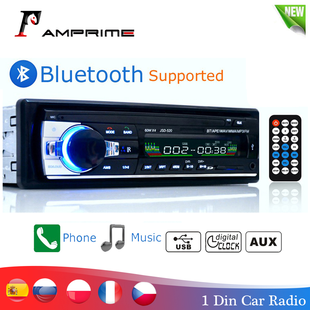Amprime bluetooth autoradio carro estéreo rádio fm aux entrada receptor sd usb JSD-520 12 v in-dash 1 din carro mp3 multimídia player