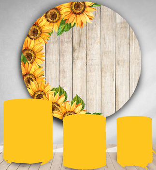 Sunflower Circle photography backdrop kids baby shower birthday party decor round photo background customize banner studio props - discount item  29% OFF Camera & Photo