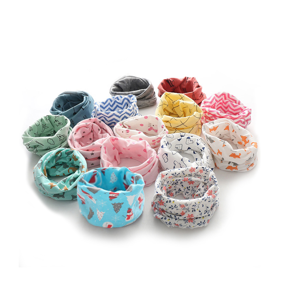 Boys Girls Kids Scarf Autumn Winter Collar Baby Scarf Cotton O-Ring Neck Scarves
