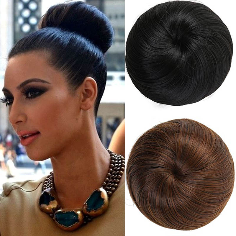 AOOSOO  9 Colors Girls Brown Blonde Bun Hair Chignon Synthetic Donut Roller Hairpieces High Temperature Fiber For Women Headwear