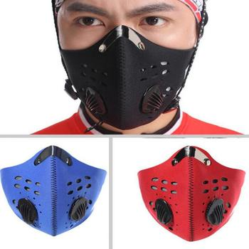 Pollution Mask Adult Anti PM 2.5 Pollution Mask with Valve Anti-fog Anti Dust Mask Activated Carbon Filter with 2 Filters