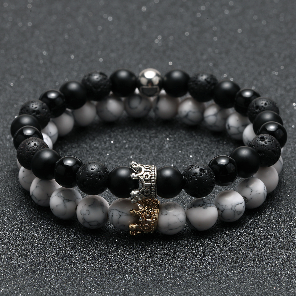 2pcs Charm paired Bracelet for Men gold Crown Women's Bracelets Natural Stone Beads Wristband Boho Couple Bracelet Gifts Friends 2