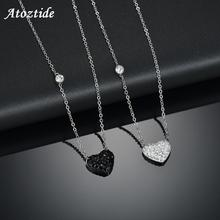 Atoztide BulingBuling White/Black Clay Rhinestone Heart Necklace For Women Lover