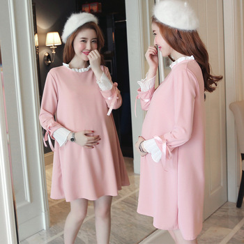 Maternity Clothes Spring And Autumn Hot Mom Fashion Pregnant Women Dress Pleat