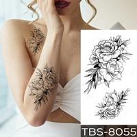 Waterproof Temporary Tattoo Sticker Black Sexy Flower Snake Mandala Flash Tatoo Henna Body Art Transferable Fake Tatto Woman Man
