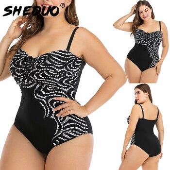 Plus Size Swimwear Women Monokini Sexy Padded String Bathing Suit Bodysuit Female Large Size Swimsuit 6XL 1