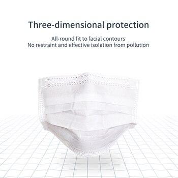Children/Women White Disposable Mask 3 Layer 10-200PCS/Bag Mouth Mask Anti-bacteria Kids Soft Breathable Nonwoven masks 1
