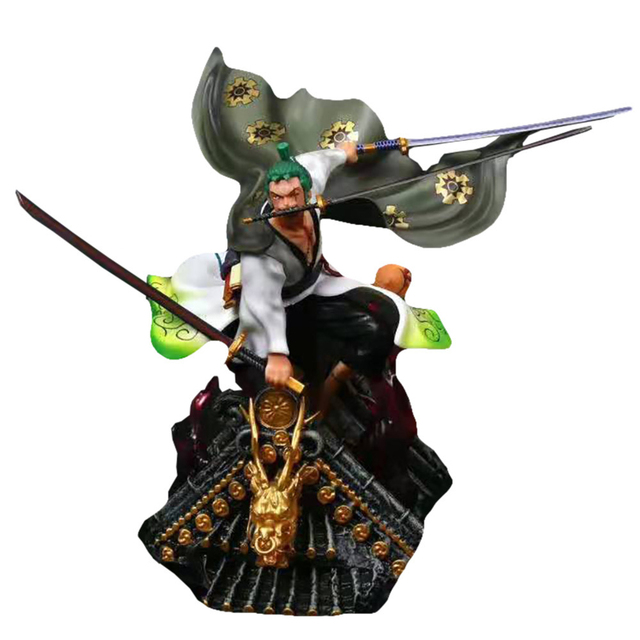One Piece GK Action Figure Model Kimono Roronoa Zoro With LED Anime Figma 30cm Statue Exquisite Collection Toy Color by hand