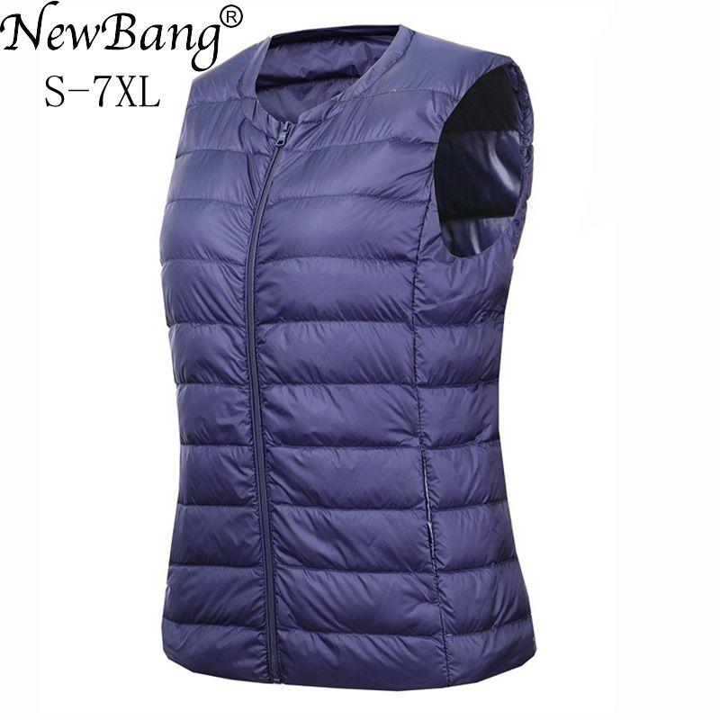 NewBang Brand 6XL 7XL Large Size Waistcoat Women's Warm Vest Ultra Light Down Vest Women Portable Sleeveless Winter Warm Liner