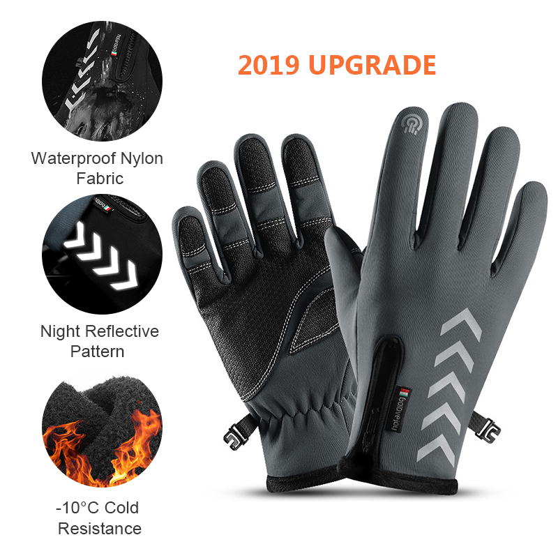 SFIT Men Women Ski Cycling Gloves Winter Waterproof Non-Slip Touch Screen Night Riding Cycling Running Reflective Strip Gloves