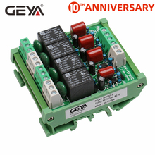 цена на Free Shipping GEYA 4 Channel Relay Module 1 SPDT DIN Rail Mount 12V 24V DC/AC Interface Relay Module for PLC
