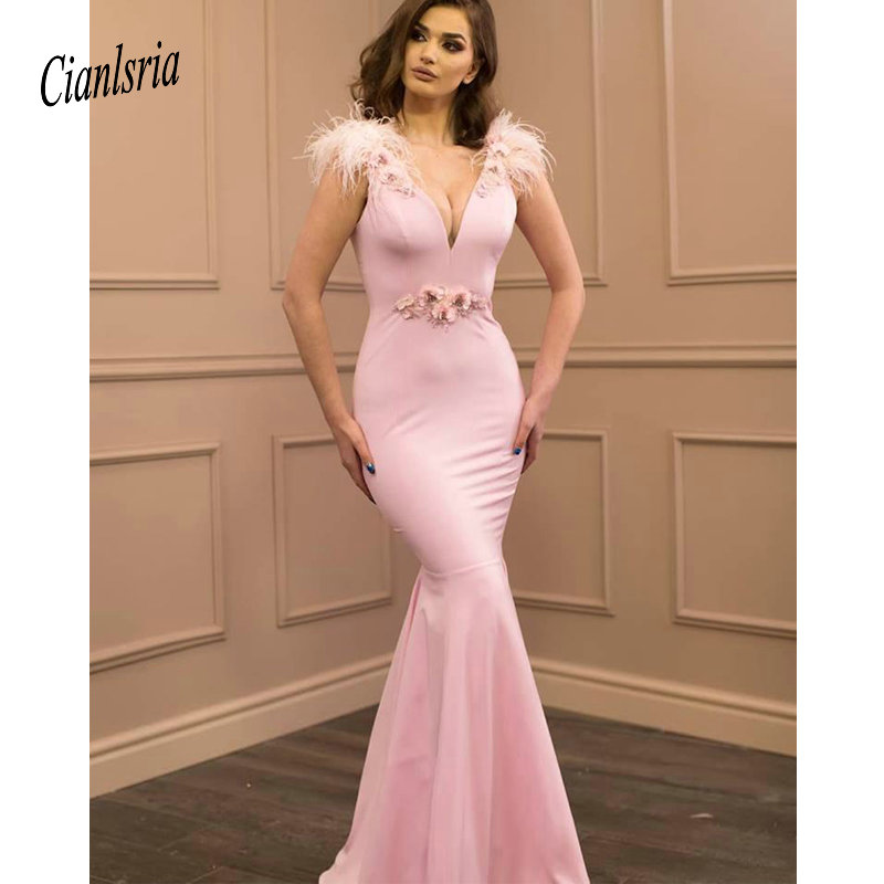 Sexy Mermaid Blus Pink   Prom     Dresses   Long On Line 2020 V Neck Evening   Dresses   Formal Gowns With Feathers