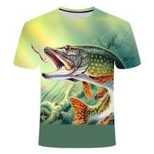 Camiseta para el aire libre para hombre, Camiseta con estampado de moda 3D, tops cortos de pesca, camiseta informal con de veran