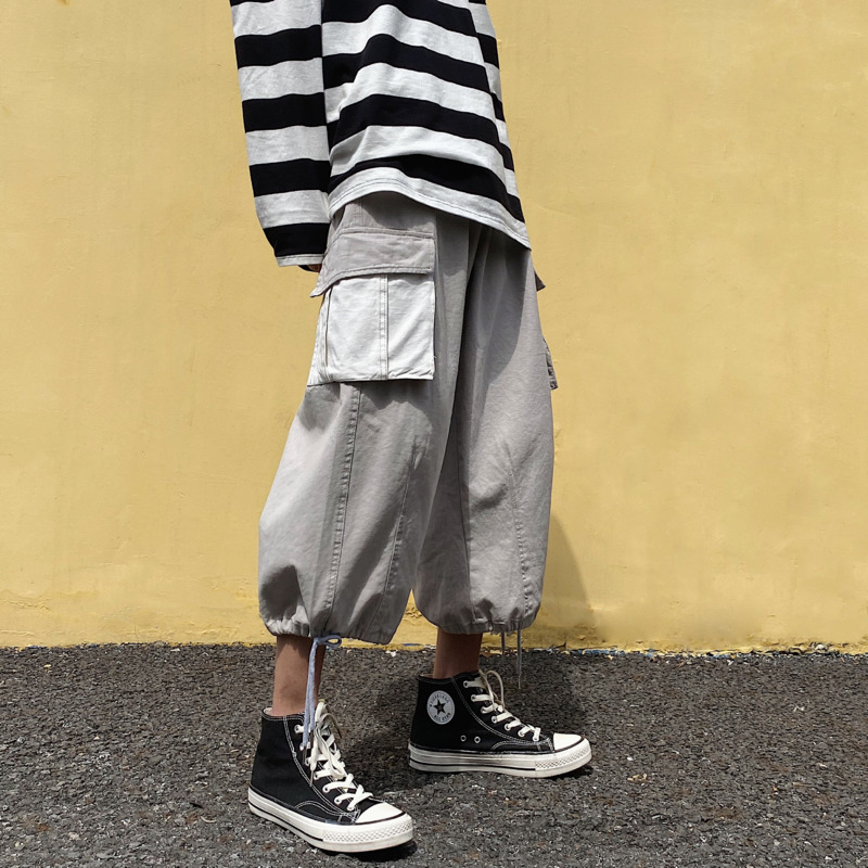 Summer Cotton Straight Casual Pants Men's Fashion Hit Color Drawstring Overalls Men Streetwear Wild Loose Hip Hop Trousers S-2XL